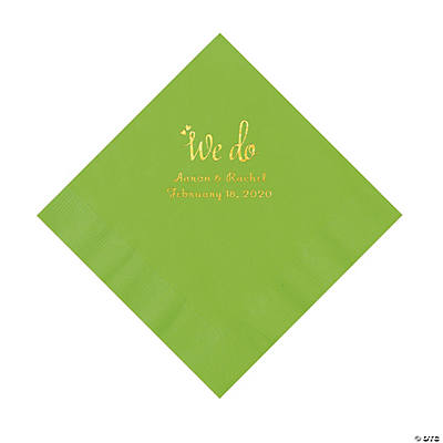 Lime Green We Do Personalized Napkins with Gold Foil - Luncheon Image Thumbnail