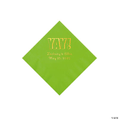 Lime Green Yay Personalized Napkins with Gold Foil - Beverage Image Thumbnail