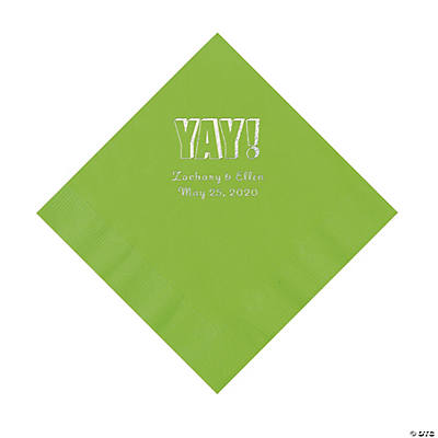 Lime Green Yay Personalized Napkins with Silver Foil - Luncheon Image Thumbnail