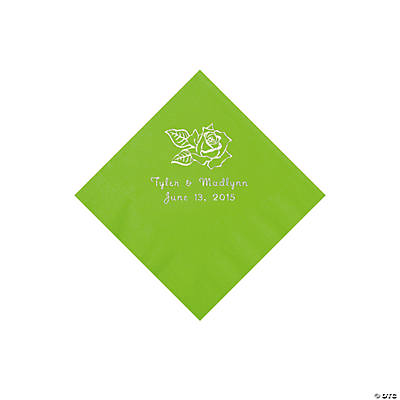 Lime Rose Personalized Napkins - Beverage Image Thumbnail