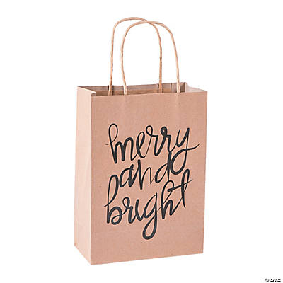 Medium Christmas Kraft Paper Gift Bags