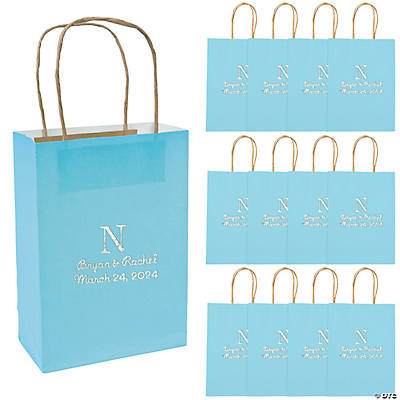 Medium Monogrammed Light Blue Roman Kraft Paper Gift Bags