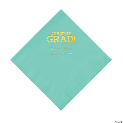 Mint Congrats Grad Personalized Napkins with Gold Foil - Luncheon Image Thumbnail