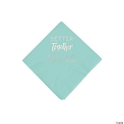 Mint Green Better Together Personalized Napkins with Silver Foil - Beverage Image Thumbnail