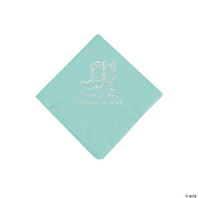 Mint Green Cowboy Boots Personalized Napkins with Silver Foil - Beverage Image Thumbnail