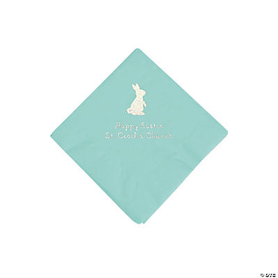 Mint Green Easter Bunny Personalized Napkins with Silver Foil - Beverage Image Thumbnail