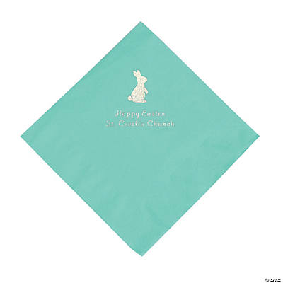 Mint Green Easter Bunny Personalized Napkins with Silver Foil - Luncheon Image Thumbnail