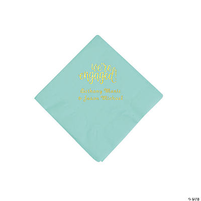 Mint Green Engaged Personalized Napkins with Gold Foil - Beverage Image Thumbnail