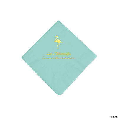 Mint Green Flamingo Personalized Napkins with Gold Foil - Beverage
