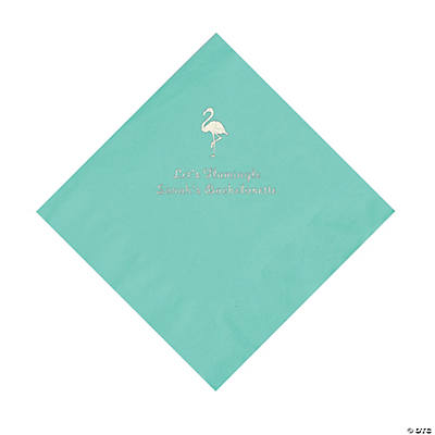 Mint Green Flamingo Personalized Napkins with Silver Foil - Luncheon Image Thumbnail