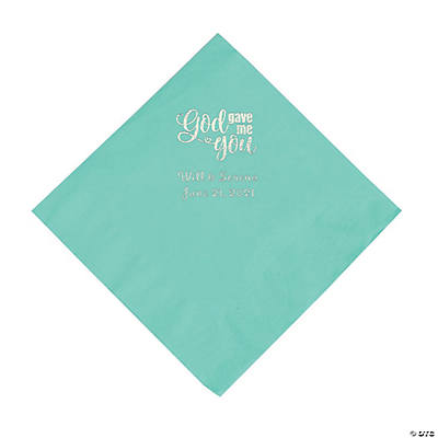 Mint Green God Gave Me You Personalized Napkins with Silver Foil - Luncheon Image Thumbnail