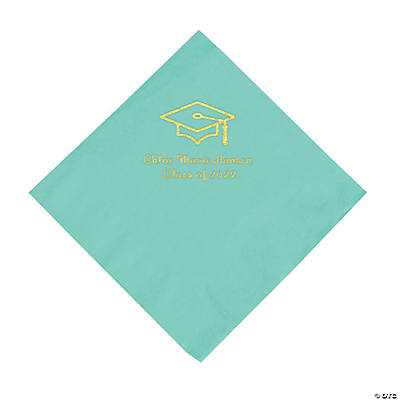 Mint Green Grad Mortarboard Personalized Napkins with Gold Foil – Luncheon Image Thumbnail