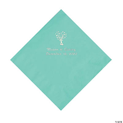 Mint Green Love Tree Personalized Napkins with Silver Foil - Luncheon Image Thumbnail