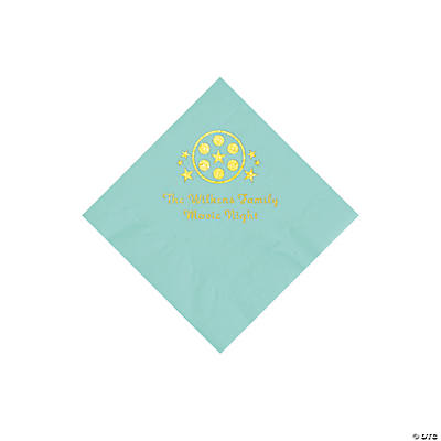 Mint Green Movie Night Personalized Napkins with Gold Foil – Beverage Image Thumbnail