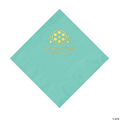 Mint Green Movie Night Personalized Napkins with Gold Foil – Luncheon Image Thumbnail