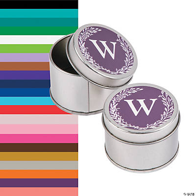Monogrammed Laurel Leaf Round Tin Favor Containers Image Thumbnail