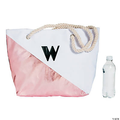 Monogrammed Rose Gold Diagonal Tote Bag