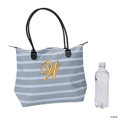 Monogrammed Striped Tote Bag with Gold Embroidery Image Thumbnail
