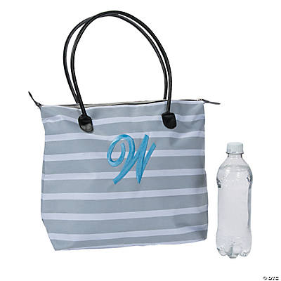 Monogrammed Striped Tote Bag with Light Blue Embroidery Image Thumbnail