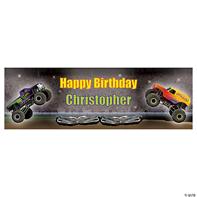 Monster Trucks Party Custom Banner - Small Image Thumbnail
