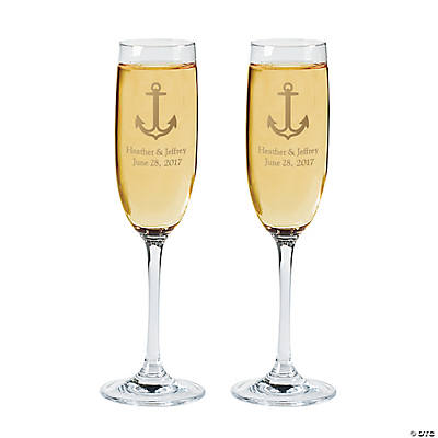 Nautical Personalized Wedding Champagne Flute