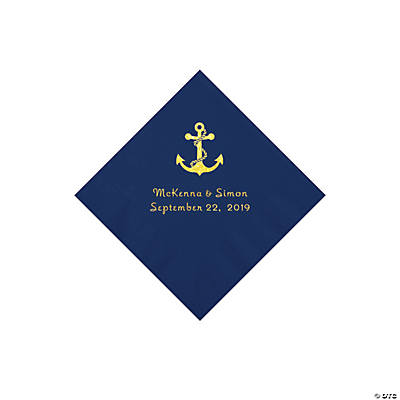 Navy Anchor Personalized Napkins with Gold Foil - Beverage