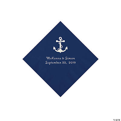 Navy Anchor Personalized Napkins with Silver Foil - Beverage Image Thumbnail