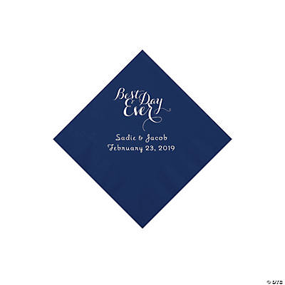 Navy Best Day Ever Personalized Napkins with Silver Foil - Beverage
