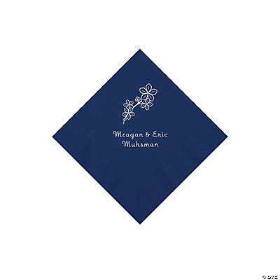 Navy Blossom Branch Personalized Napkins with Silver Foil - Beverage Image Thumbnail