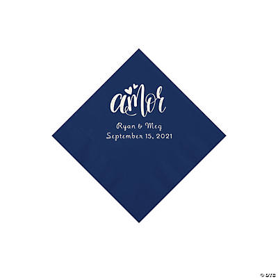 Navy Blue Amor Personalized Napkins with Silver Foil - Beverage Image Thumbnail