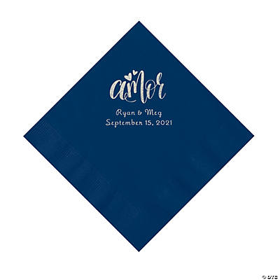 Navy Blue Amor Personalized Napkins with Silver Foil - Luncheon Image Thumbnail