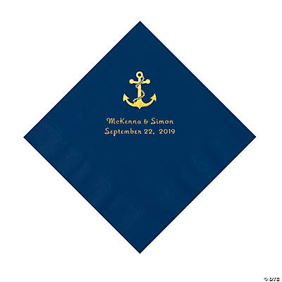 Navy Blue Anchor Personalized Napkins with Gold Foil - Luncheon Image Thumbnail