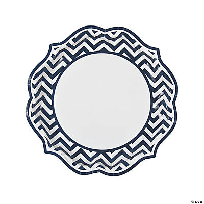 sc 1 st  Fun Express & Navy Blue Chevron Scalloped Dinner Plates