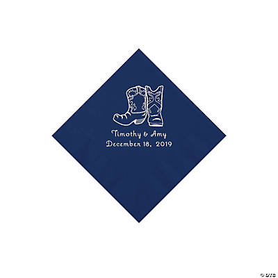 Navy Blue Cowboy Boots Personalized Napkins with Silver Foil - Beverage Image Thumbnail
