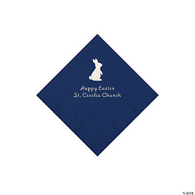 Navy Blue Easter Bunny Personalized Napkins with Silver Foil - Beverage Image Thumbnail