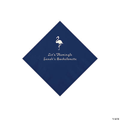 Navy Blue Flamingo Personalized Napkins with Silver Foil - Beverage