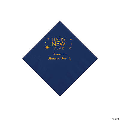 Navy Blue Happy New Year Personalized Napkins with Gold Foil - Beverage Image Thumbnail