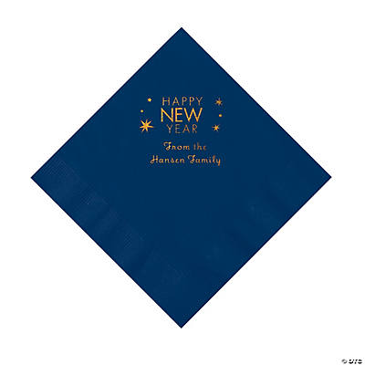 Navy Blue Happy New Year Personalized Napkins with Gold Foil – Luncheon Image Thumbnail