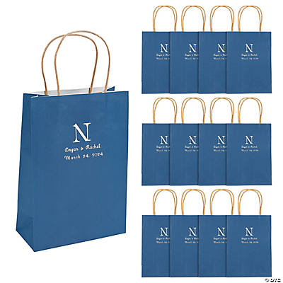 Navy Blue Medium Personalized Monogram Welcome Gift Bags with Silver Foil Image Thumbnail