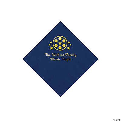 Navy Blue Movie Night Personalized Napkins with Gold Foil – Beverage Image Thumbnail