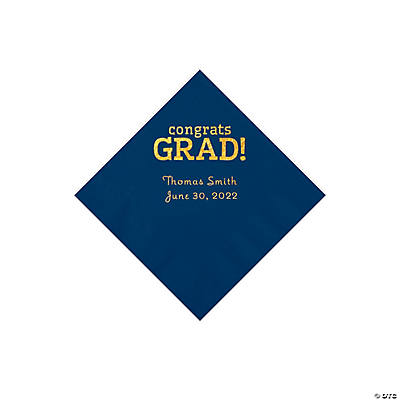 Navy Congrats Grad Personalized Napkins with Gold Foil - Beverage Image Thumbnail