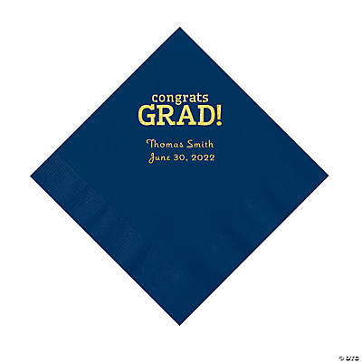 Navy Congrats Grad Personalized Napkins with Gold Foil - Luncheon Image Thumbnail