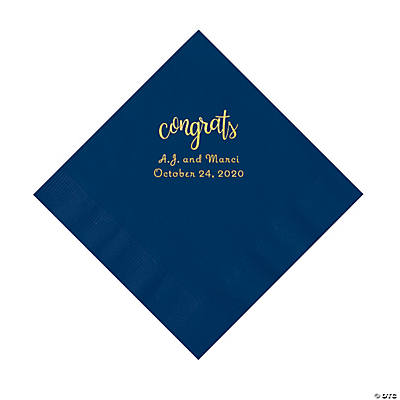 Navy Congrats Personalized Napkins with Gold Foil - Luncheon Image Thumbnail