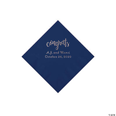 Navy Congrats Personalized Napkins with Silver Foil - Beverage Image Thumbnail