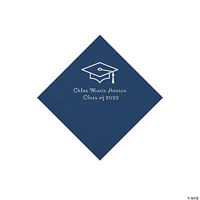 Navy Grad Mortarboard Personalized Napkins with Silver Foil – Beverage Image Thumbnail