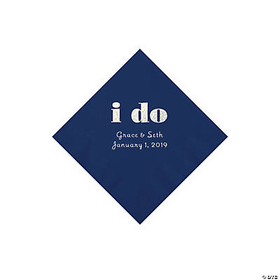 Navy I Do Personalized Napkins with Silver Foil - Beverage
