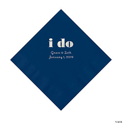 Navy I Do Personalized Napkins with Silver Foil - Luncheon