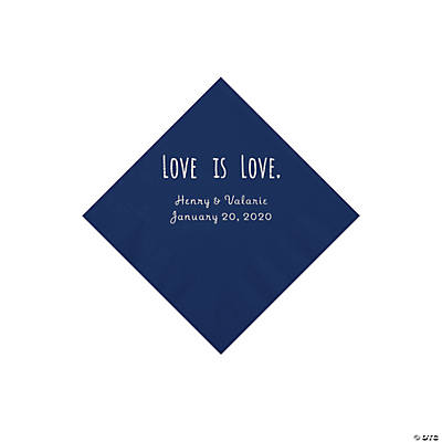 Navy Love is Love Personalized Napkins with Silver Foil - Beverage Image Thumbnail
