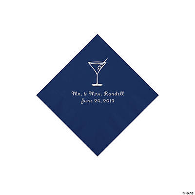 Navy Martini Glass Personalized Napkins with Silver Foil - Beverage Image Thumbnail