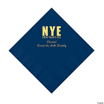 Navy New Year's Eve Personalized Napkins with Gold Foil - Luncheon Image Thumbnail